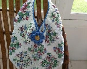 Crocheted Granny Square Tote/Market Bag/Beach Bag with Removable Flower