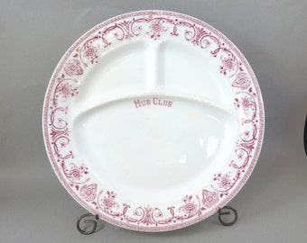 Vintage Hub Club Restaurant Ware Divided Plate, McNicol China P118 Maroon Floral Border
