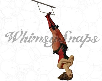 Trapeze Lady, Circus Performer, Vintage Acrobat  DIGITAL IMAGE Download,  .png and .jpeg, transfer to burlap, totes, designs,