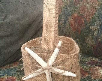 Burlap Flower girl Basket with Starfish and net