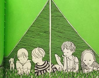 The Tent: An Early-Start Preschool Reader by Dorothy Z. Seymour Illus by Nance Holman Stunning Mid Century Green White & Black Illustration