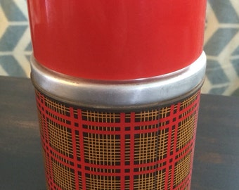 "Red Plaid vintage Aladdin Thermos 16 oz ""Best Buy"""