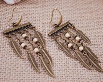 Geometric earrings, Long tribal earrings, gypsy feather earrings, beige beads earrings, chain earrings
