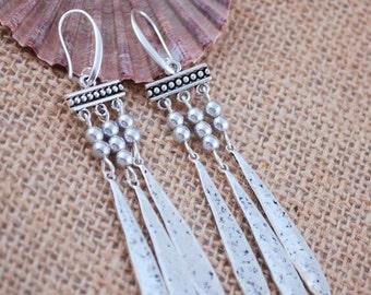 Beach wedding earrings, designer jewellry for women, silver long earrings, handmade earrings
