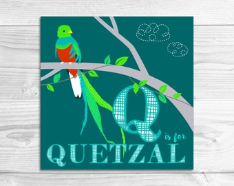 Instant Download: Q is for Quetzal Wall Art Print // Baby Art, Nursery Art, Alphabet Art