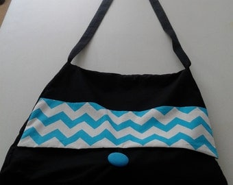 Tote Bag - Black Shoulder Tote with Stunning Blue Chevron Contrast