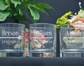 Personalized Whiskey Glasses / Groomsmen Gifts / Bridesmaid Gift / Best Man Gift / Custom Engraved Glasses / Etched Rocks Glasses / Set of 6