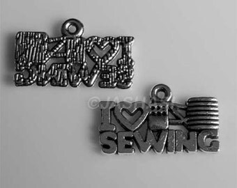 15 I Love Sewing Words Tibetan Silver Charms (463)