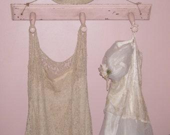 Antique~1930's Old Original Primitive Shabby Cottage Farmhouse Pink~Peg Wall Dress/Coat/Hat Decorative Hanger