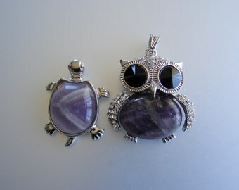 SALE. Owl , Tortoise Platinum color  Natural Amethyst Rhinestone Pendants All sizes shown on pictures