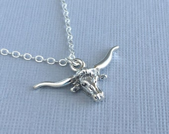 Sterling Silver Longhorn Necklace, Silver Longhorn Necklace, Silver Western Charm Necklace, Texas Jewelry, Gift Ideas for Her