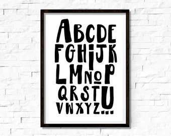 Monochrome, Alphabet Print, Kids Art Print, Room Decor Print