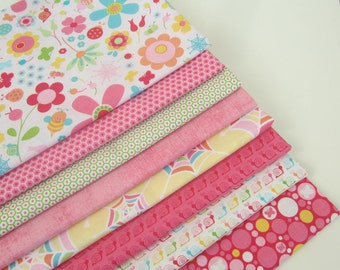 Riley Blake 100% Cotton Novelty Quilt Craft Fabric 8 Fat Quarters Bundle for Children Girls Pink Blue Yellow