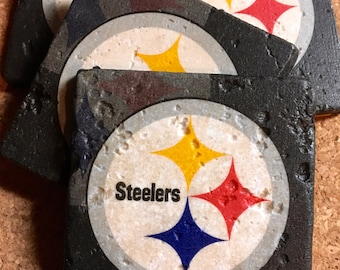 Pittsburgh Steelers Coasters ~ Set of 4 Stone Coasters ~ Football Coasters