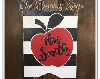 Teacher Apple Name Sign black white red Classroom Decor