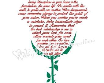 Wedding Flower Art, Wedding Poem Art, Love Poem Art, Rose Word Art, Wedding Flower, Customized Word Art Typography, PRINTABLE DIGITAL FILE