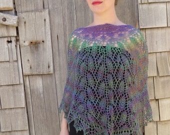 Purple and Green Growing Vines, Hand Knit Shawl, Hand Made Scarf