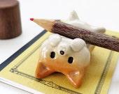 "Ceramics figurine ""A pen rest of Shiba Inu type NEW 2""  柴犬 工房しろ"