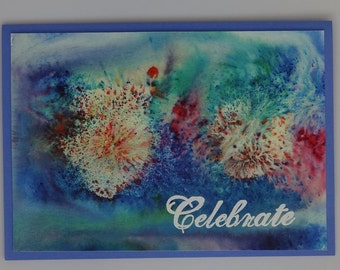 "Greeting card ""Celebrate"" with fireworks background"