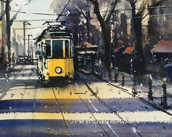 Milan's old tram watercolor painting art print
