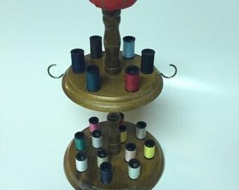 Twin Tier Sewing Rack / Vintage Sewing Rack / Wooden Thread Holder / Thread Holder / Spool Holder / Thread Holder / Wooden Thread Holder