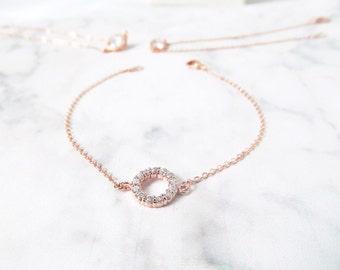 rose gold bridal bracelet, rose gold wedding bracelet, rose gold bridesmaids jewelry, delicate rose gold bracelet, bridesmaids gift bracelet