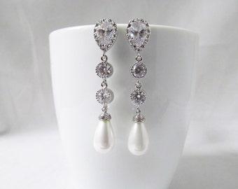 pearl crystal earrings silver, pearl and crystal earrings wedding earrings, bridal earrings,teardrop earrings, pearl drop earrings