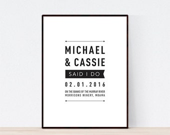 DIGITAL FILE, Modern Wedding Print, Personalised Wedding Print, Wedding Gift