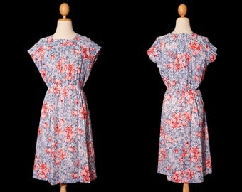 1950 dress | Blue dress | Floral dress | Vintage dress | Rose print dress | Sleeveless dress | Cotton dress | Japanese dress | Summer dress