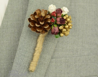 Rustic Buttonhole - Grooms Buttonhole - Christmas Buttonhole - Woodland Wedding - Christmas Wedding - Burgundy Wedding - Boutonniere - Lapel