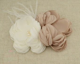 Cappuccino Ivory Chiffon Freshwater Pearl Feather Double Flower Hair Clip Fascinator Or Handbag Brooch