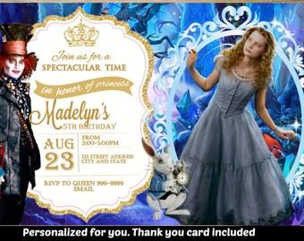 Alice in Wonderland Invitation, Alice in Wonderland Birthday Party, Alice invitation, Alice Birthday, Personalized, Printable, Digital File