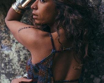 Sahel Tribal Dress Africa- Stripe Back open