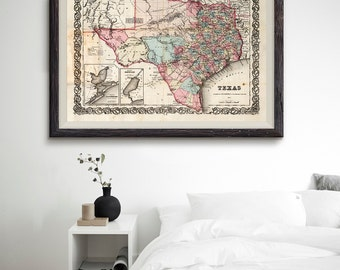 Texas Antique Map 1855, Texas Map, Texas State Map, Vintage US State Map, Office Decor, Old Map- CP021