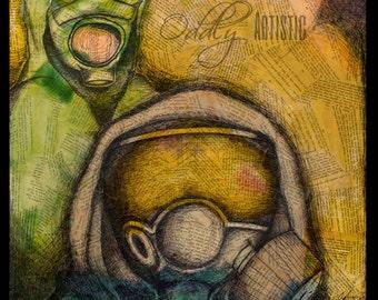 Post Apocalyptic Gas Mask Art Print
