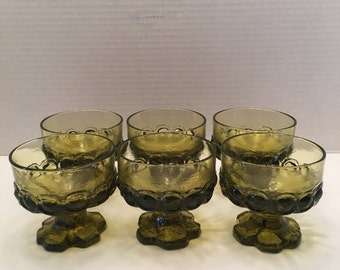 Tiffin Franciscan Madiera Footed Dessert Glass Dish~ Avocado Green Citron  Green ~ Set of Six~ Vintage