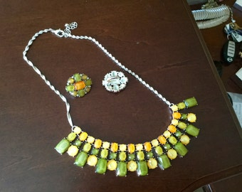 Green and Yellow Bib Necklace w/Matching Earrings