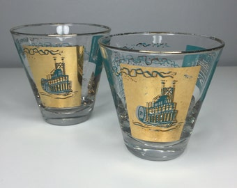 SALE! set of two Libbey Steamboat Southern Comfort glasses gold and turquoise