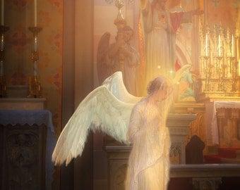 Religious Art, Catholic Art, Among Angels Print  by Sandra Lubreto Dettori