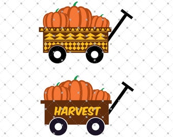 Pumpkin Wagon svg cut files, Harvest svg, Pumpkin svg cut files for Cricut, Cut files for Silhouette, svg files