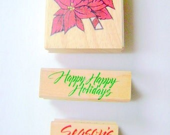Rubber stamps- Poinsettia, Happy Happy Holidays and Seasons Greetings stamps,  scrapbooking, Supplies