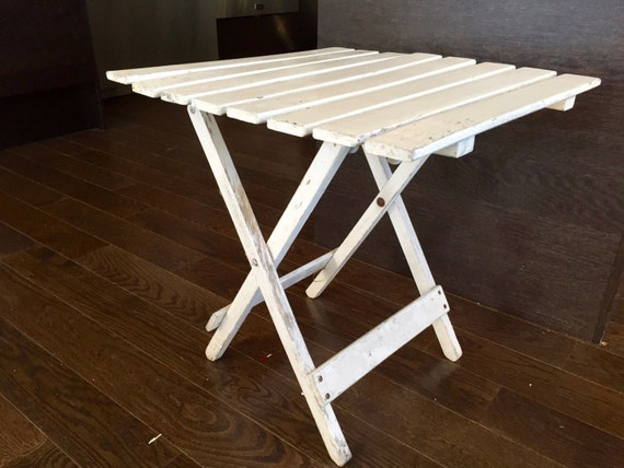 Vintage Wood Folding Table Small White Slat Wooden Camp