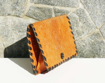 Vintage Leather coin purse - Genuine leather case - Leather coin pouch -Orange Brown