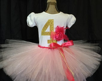 Girl's fourth birthday outfit, 4th birthday girl's outfit, fourth birthday shirt, gold birthday outfit, number 4 birthday girl shirt