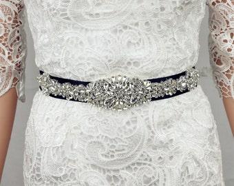 CHARLOTTE Black Silver Crystal Rhinestone Diamante Belt Sash Bridal Occasion Prom * Any colours *