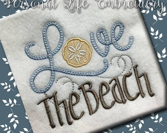LOVE Series The Beach Sand Dollar Summer Machine Embroidery Design Digital Pattern INSTANT DOWNLOAD Nautical Lake Sea Sand Water Cottage