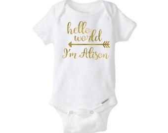 Baby Onesie - Hello World Custom with Name