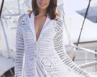 Mesdames blanc cardigan crochet