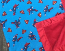 """Superman Cotton Fabric and Red Minky Blanket with Red Satin Trim 44""""x50"""""""