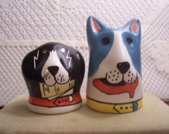 Blue and Black Dogs Salt & Pepper Shakers